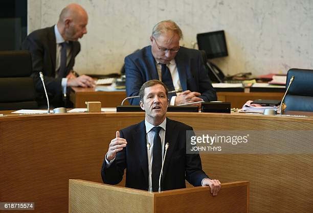 MinisterPresident of Belgium's Frenchspeaking Walloon Region Paul Magnette delivers a speech during a debate about the EUCanada Comprehensive...