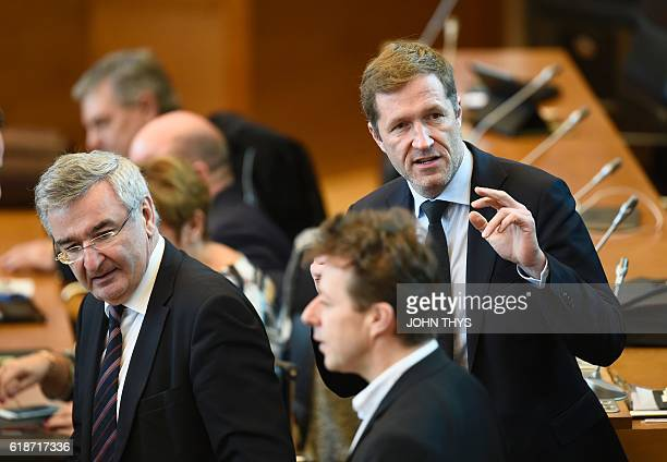 MinisterPresident of Belgium's Frenchspeaking Walloon Region Paul Magnette arrives for a debate about the EUCanada Comprehensive Economic Trade...