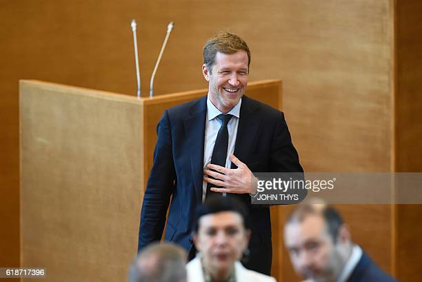 MinisterPresident of Belgium's Frenchspeaking Walloon Region Paul Magnette reacts as he arrives for a debate about the EUCanada Comprehensive...