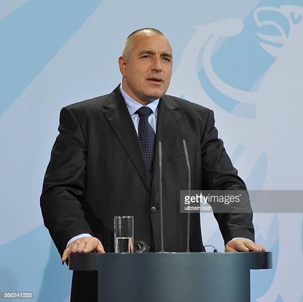 Ministerpräsident Boyko Borisov während einer Pressekonferenz anlässlich seines Besuches in Berlin