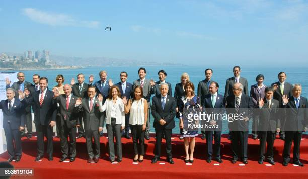 Ministers from 11 TransPacific Partnership free trade agreement member countries attend a photo session in Vina del Mar Chile on March 15 2017 They...