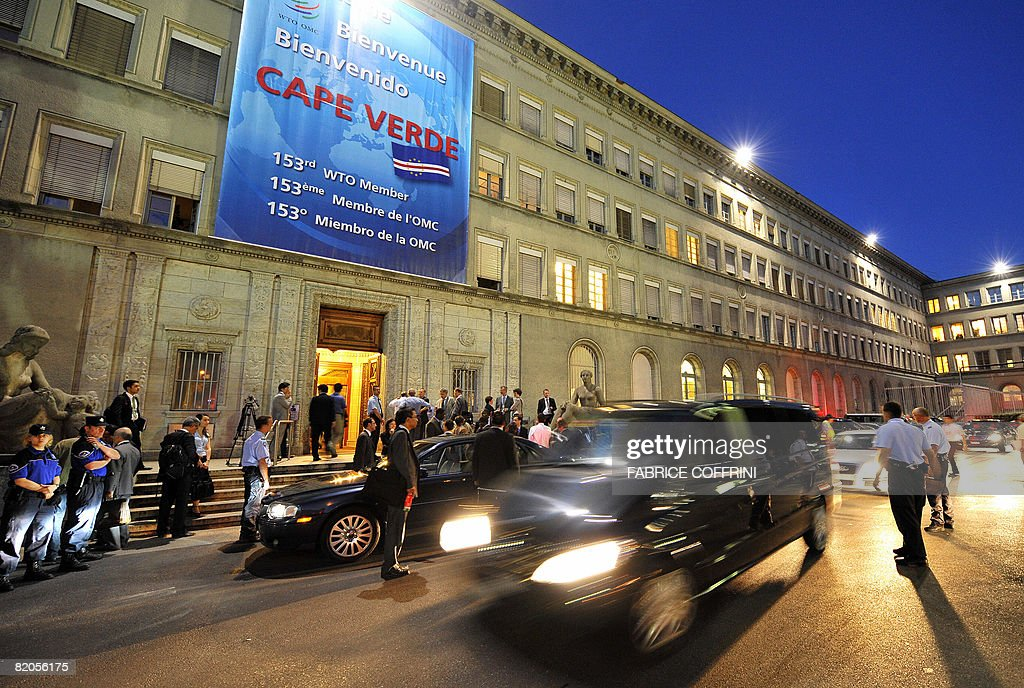 Ministers leaves World Trade Organisation talks late on July 24 2008 at the WTO headquarters in Geneva The United States the European Union Japan...