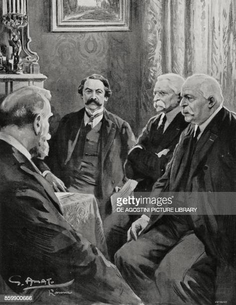Ministers Leon Bourgeois Aristide Briand Sidney Sonnino and Antonio Salandra ItaloFrench Conference of February 11 Rome Italy drawing by Gennaro...