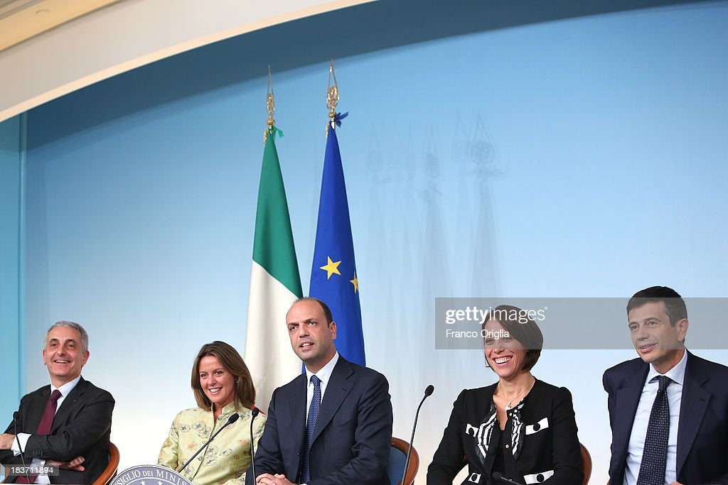 ROME, ITALY - OCTOBER 09 Ministers of the PDL (centre-right party led by Silvio Berlusconi) (L-R) Gaetano Quagliariello, Beatrice Lorenzin, <a gi-track='captionPersonalityLinkClicked' href=/galleries/search?phrase=Angelino+Alfano&family=editorial&specificpeople=5101299 ng-click='$event.stopPropagation()'>Angelino Alfano</a>, Nunzia de Girolamo and Maurizio Lupi attend a press conference at Palazzo Chigi on October 9, 2013 in Rome, Italy. After asking all his ministers to resign, Silvio Berlusconi changed his mind and voted in support of the government as Prime Minister Enrico Letta gained the confidence vote at the Italian Senate on October 2nd.