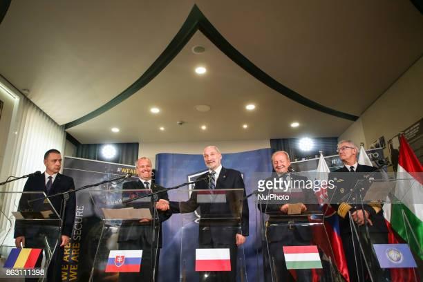 Ministres of National Defence of Romania Mihai Viorel Fifor Slovakia Peter Gajdos Poland Antoni Macierewicz Hungary Istvan Simicsko and Deputy...