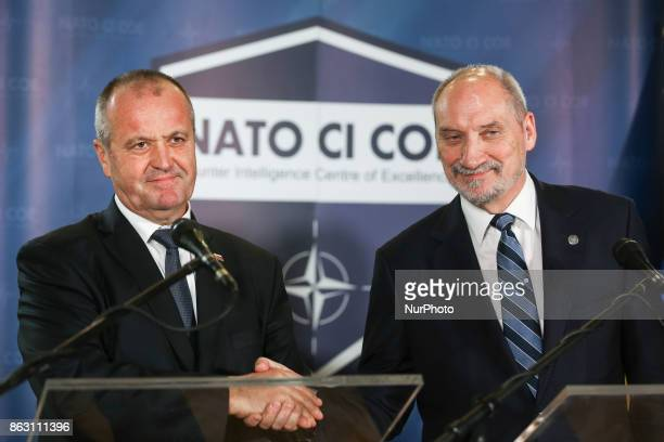 Ministres of National Defence of Slovakia Peter Gajdos and Poland Antoni Macierewicz press conference for the opening of NATO Counter Intelligence...