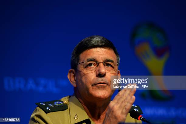 Ministry of Defence Special Advisor for Major Events General Jamil Megid Junior attends a press conference during a media day ahead of the Final Draw...