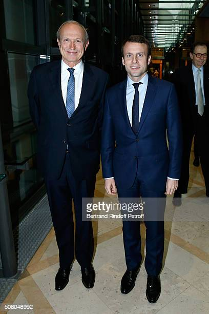 Ministry of Economy Industry and Digital Emmanuel Macron gives to President of l'Oreal JeanPaul Agon Insignia of Officer of the Legion of Honor at...