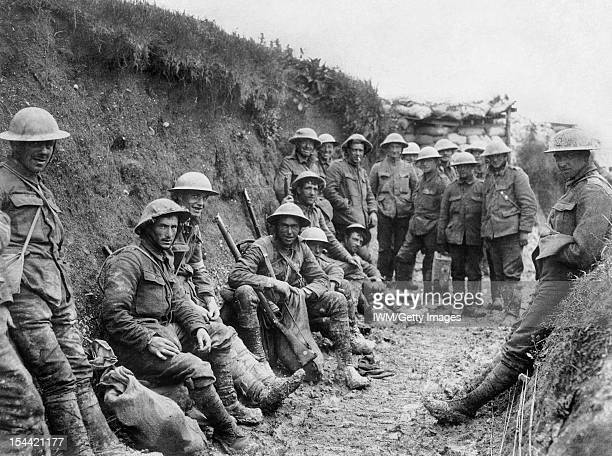 Ministry Of Information First World War Official Collection Men of Royal Irish Rifles resting in a communication during the opening hours of the...