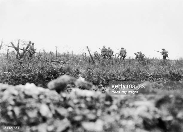 Ministry Of Information First World War Official Collection Men of the Wiltshire Regiment advancing to the attack through the wire Thiepval 7 August...