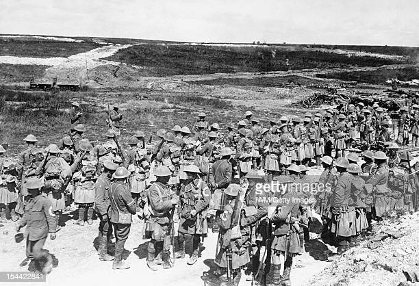 Ministry Of Information First World War Official Collection Roll Call of the 2nd Battalion The Seaforth Highlanders near Beaumont Hamel on the...