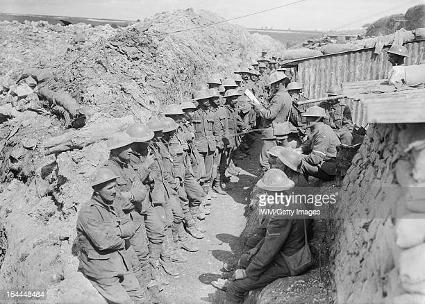 Ministry Of Information First World War Official Collection Roll call of the 1st Battalion Lancashire Fusiliers on the afternoon of 1 July 1916...