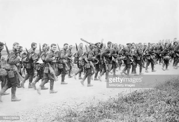 Ministry Of Information First World War Official Collection Soldiers of the 10th Battalion East Yorkshire Regiment marching to the trenches near...