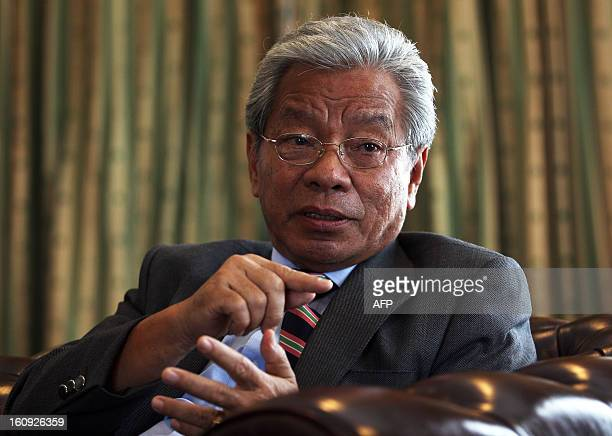 Ministry of Land Development Sarawak James Jemut Masing speaks during an interview at his office in Kuching the capital city of Sarawak state on...