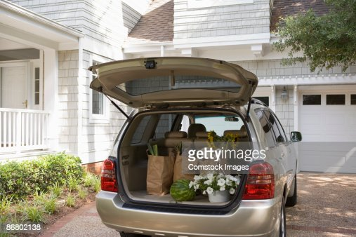 Mini-van with groceries and flowers
