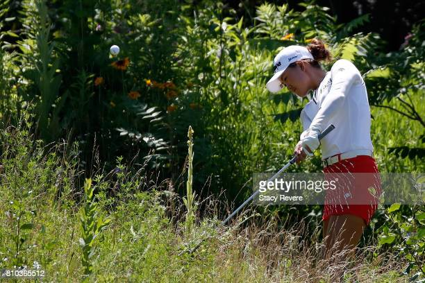 Minjee Lee of Australia hits her second shot from the thick rough on the 18th hole during the second round of the Thornberry Creek LPGA Classic at...