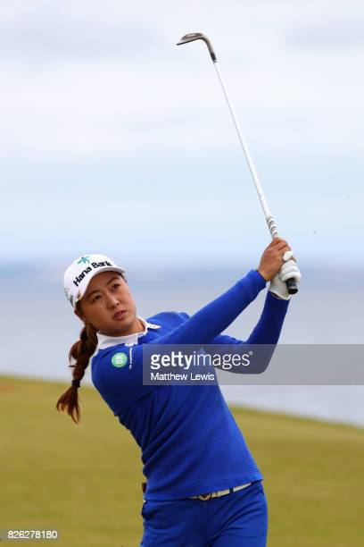Minjee Lee of Australia hits her second shot on the 4th hole during the second round of the Ricoh Women's British Open at Kingsbarns Golf Links on...