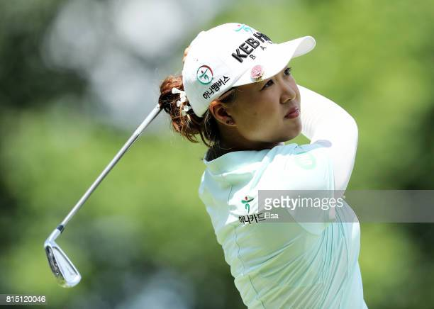Minjee Lee of Australia hits her shot off the fourth tee during the US Women's Open round three on July 15 2017 at Trump National Golf Club in...