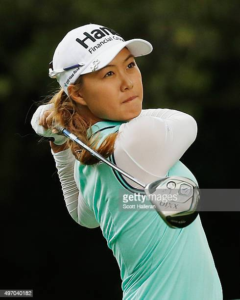 Minjee Lee of Australia hits her tee shot on the 11th hole during the second round of the Lorena Ochoa Invitational Presented By Banamex at the Club...