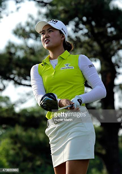 Minjee Lee of Australia hits her tee shot on the 16th hole during the third round of the Kingsmill Championship presented by JTBC on the River Course...