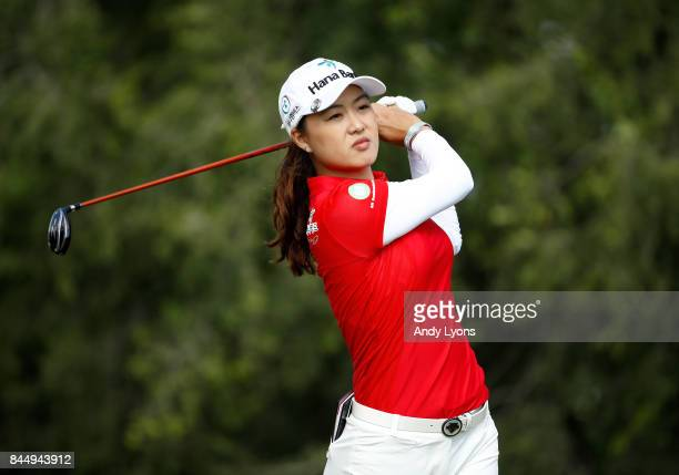 Minjee Lee of Australia hits her tee shot on the 4th hole during the final round of the Indy Women In Tech ChampionshipPresented By Guggenheim at the...