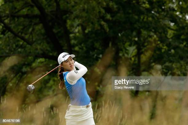 Minjee Lee of Australia hits her tee shot on the fifth hole during the second round of the 2017 KPMG PGA Championship at Olympia Fields on June 30...