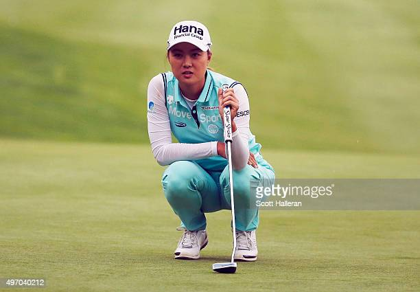 Minjee Lee of Australia look over the 11th green during the second round of the Lorena Ochoa Invitational Presented By Banamex at the Club de Golf...