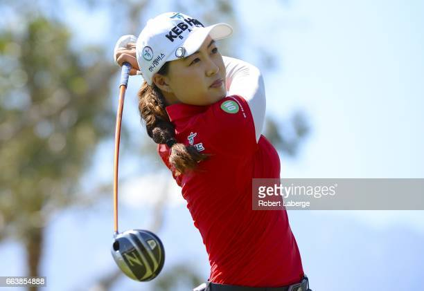 Minjee Lee of Australia makes a tee shot on the fourth hole during the final round of the ANA Inspiration on the Dinah Shore Tournament Course at...