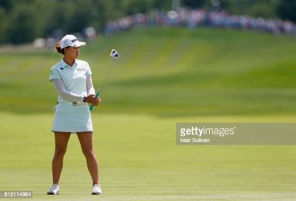 Minjee Lee of Australia misses a birdie putt on the first hole during the third round of the US Women's Open Championship at Trump National Golf Club...