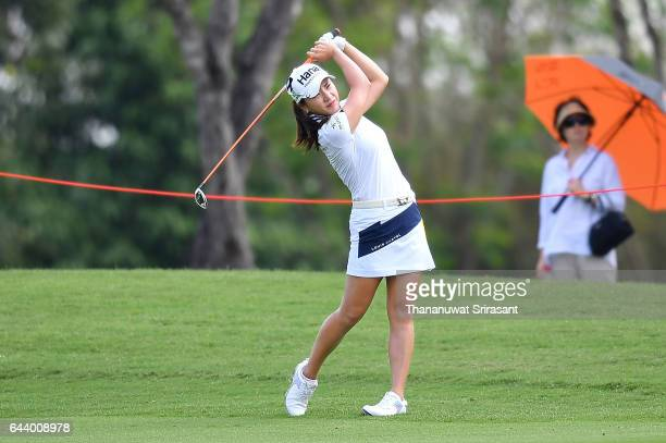 Minjee Lee of Australia plays a shot during round one of the Honda LPGA Thailand at Siam Country Club on February 23 2017 in Chonburi Thailand