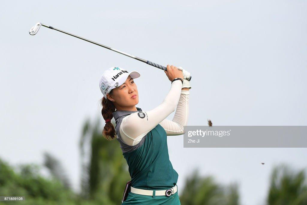 Minjee Lee of Australia plays a shot during the Blue Bay LPGA at Jian Lake Blue Bay golf course on November 8, 2017 in Hainan Island, China.
