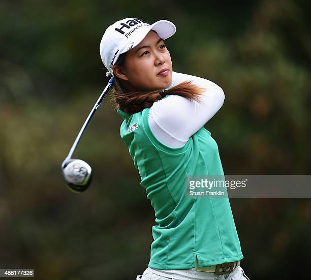 Minjee Lee of Australia plays a shot during the final round of the Evian Championship Golf on September 13 2015 in EvianlesBains France