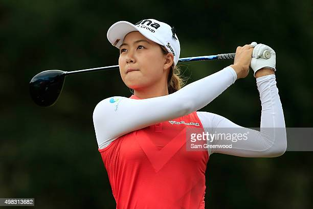 Minjee Lee of Australia plays a shot on the third tee during the final round of the CME Group Tour Championship at Tiburon Golf Club on November 22...