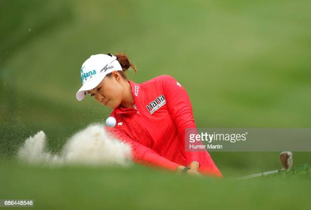 Minjee Lee of Australia plays from the bunker on the eighth hole during the final round of the Kingsmill Championship presented by JTBC on the River...