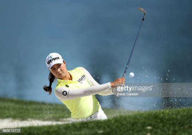 Minjee Lee of Australia plays her second shot on the par 3 fifth hole during the third round of the 2017 ANA Inspiration held on the Dinah Shore...