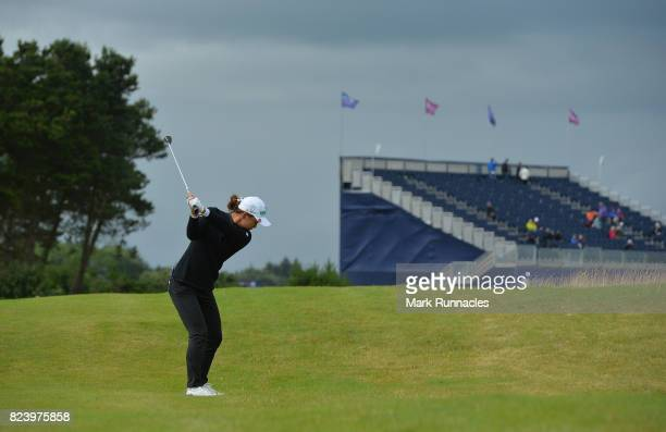 Minjee Lee of Australia plays her second shot to the 18th hole during the second day of the Aberdeen Asset Management Ladies Scottish Open at...