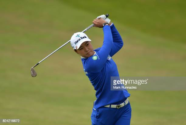 Minjee Lee of Australia plays her second shot to the 2nd hole during the third day of the Aberdeen Asset Management Ladies Scottish Open at Dundonald...