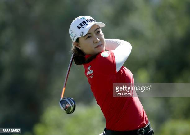 Minjee Lee of Australia plays her tee shot on the sixth hole during the final round of the ANA Inspiration at the Dinah Shore Tournament Course at...