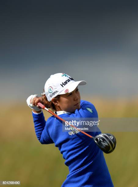 Minjee Lee of Australia plays her tee shot to the 17th hole during the third day of the Aberdeen Asset Management Ladies Scottish Open at Dundonald...