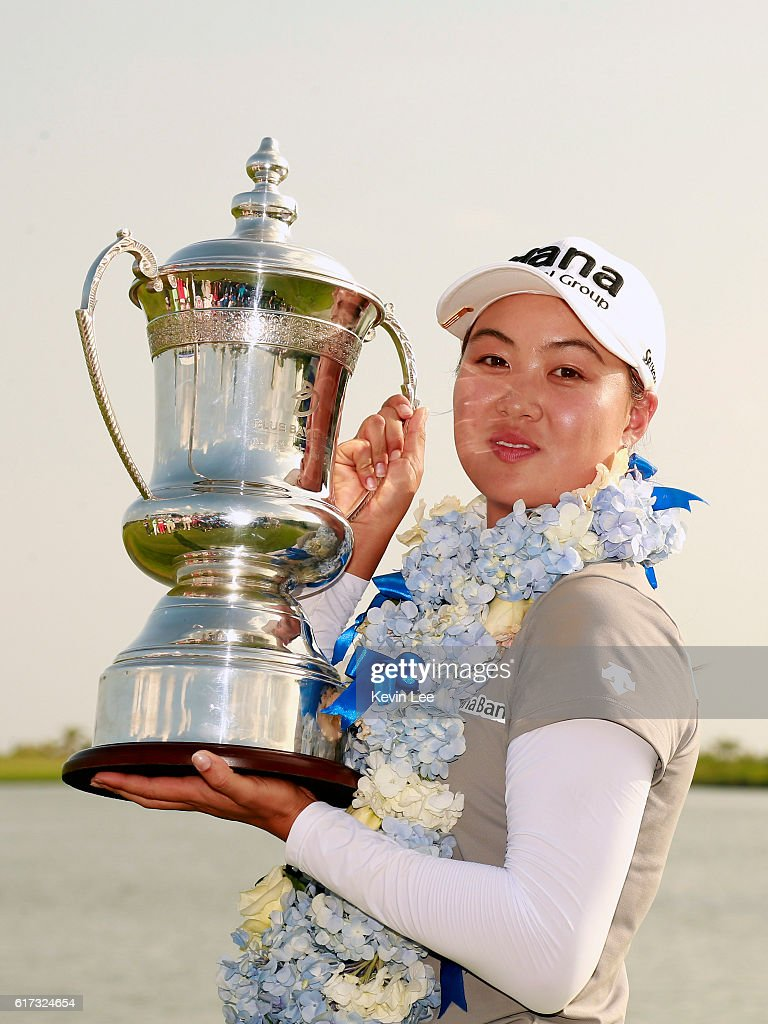 Minjee Lee of Australia poses with her trophy after winning the Blue Bay LPGA on Day 4 on October 23, 2016 in Hainan Island, China.