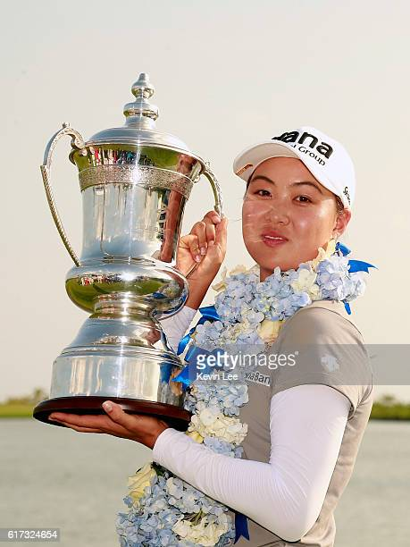 Minjee Lee of Australia poses with her trophy after winning the Blue Bay LPGA on Day 4 on October 23 2016 in Hainan Island China