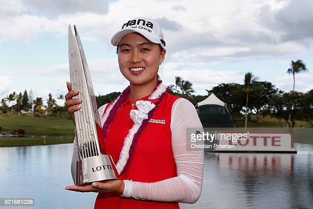 Minjee Lee of Australia poses with the LOTTE Championship trophy after winning in the final round of the LPGA LOTTE Championship Presented By Hershey...