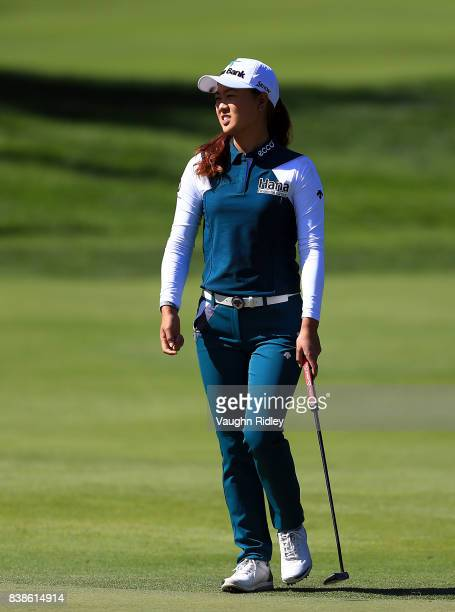 Minjee Lee of Australia reacts after putting on the 3rd green during round one of the Canadian Pacific Women's Open at the Ottawa Hunt Golf Club on...