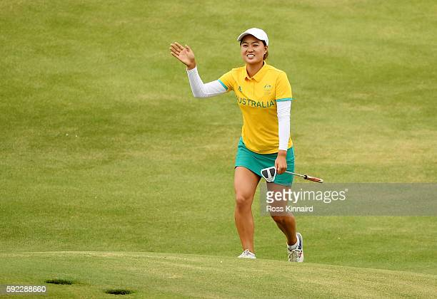 Minjee Lee of Australia reacts on the 18th green during the Women's Golf Final on Day 15 of the Rio 2016 Olympic Games at the Olympic Golf Course on...