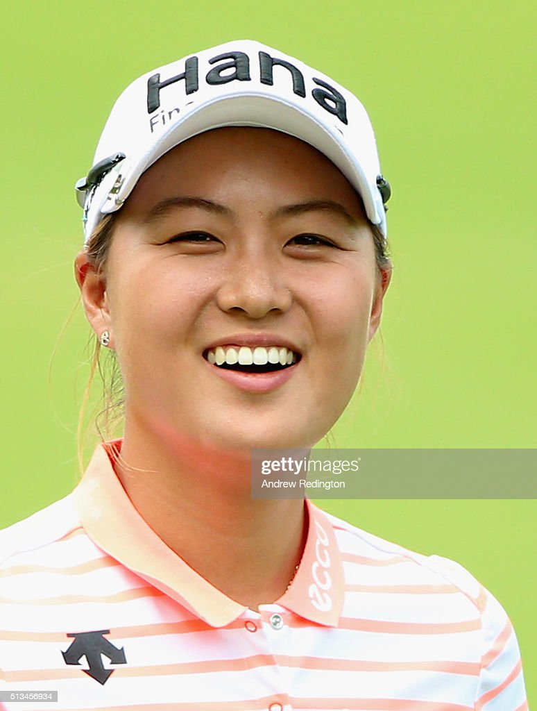 Minjee Lee of Australia smiles on the 18th hole during the first round of the HSBC Women's Champions at Sentosa Golf Club on March 3 2016 in...