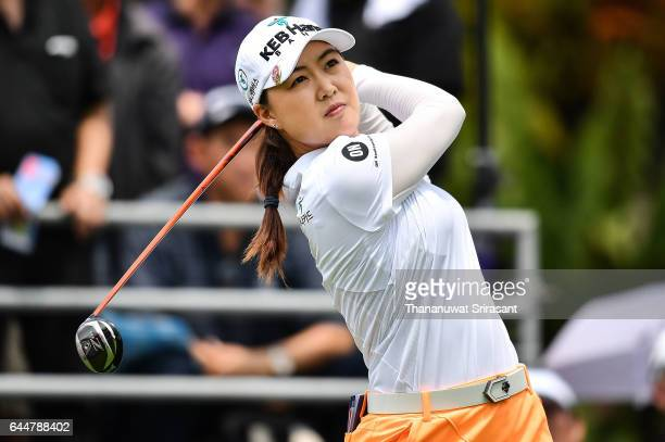 Minjee Lee of Australia tee off at 1st hole during the Honda LPGA Thailand at Siam Country Club on February 24 2017 in Chonburi Thailand