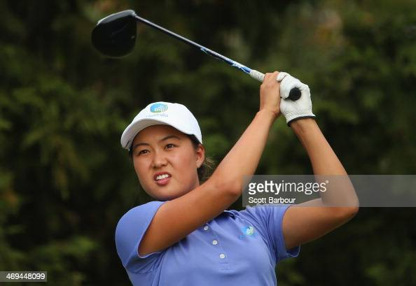 MinJee Lee of Australia tees off on the 18th hole during day three of the ISPS Handa Women's Australian Open at The Victoria Golf Club on February 15...