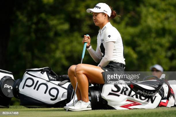 Minjee Lee of Australia waits to putt on the 12th green during the first round of the 2017 KPMG PGA Championship at Olympia Fields Country Club on...