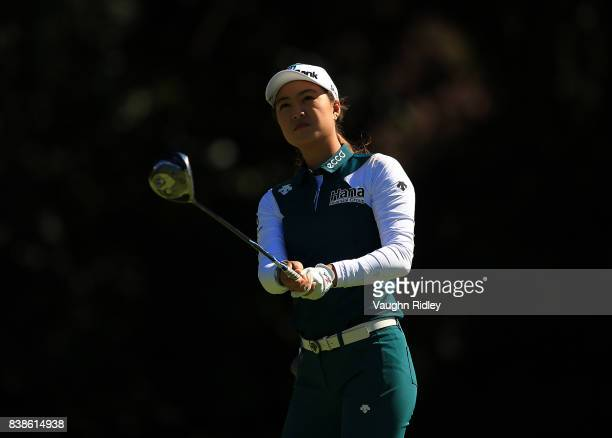 Minjee Lee of Australia watches her shot on the 4th tee during round one of the Canadian Pacific Women's Open at the Ottawa Hunt Golf Club on August...