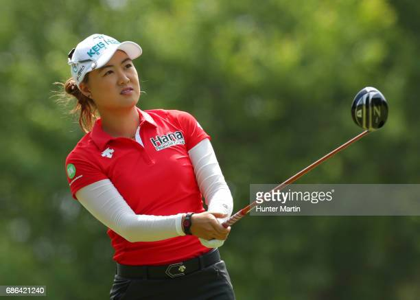 Minjee Lee of Australia watches her tee shot on the third hole during the final round of the Kingsmill Championship presented by JTBC on the River...